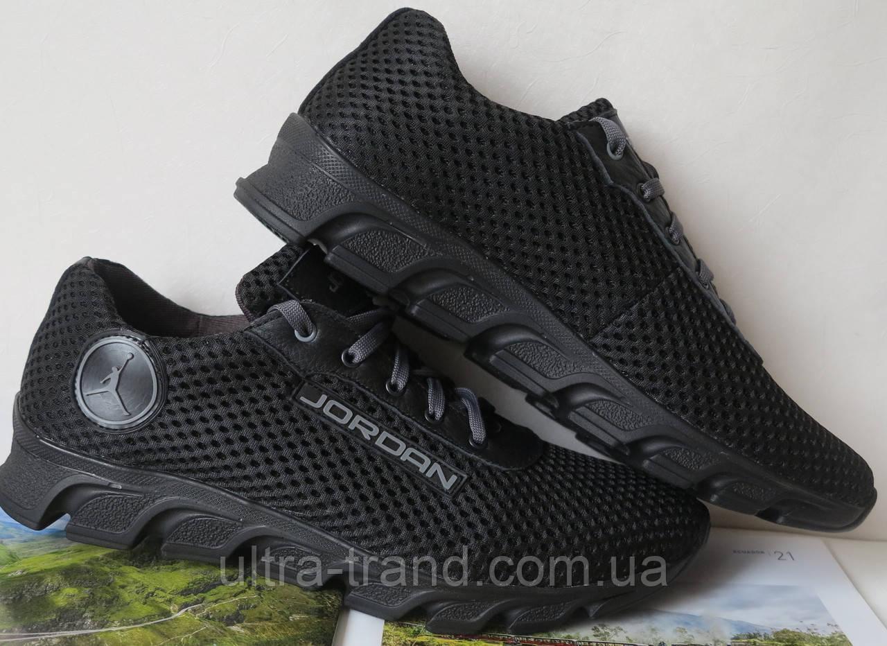 Летние черные мужские кроссовки в стиле Jordan!  сетка кожа