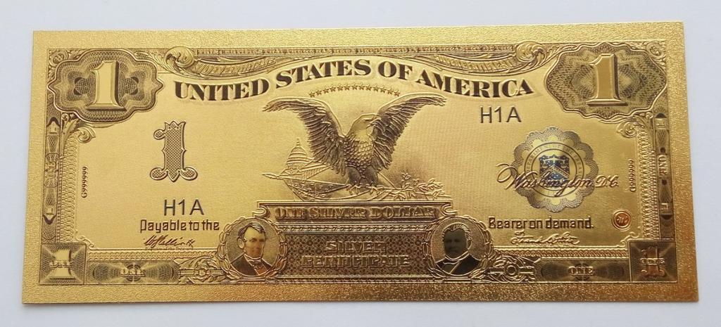 Золотая банкнота 1 доллар США. 1899 года Орел.