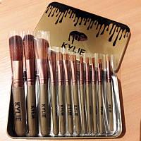 Набор кистей для макияжа KYLIE в металлическом футляре (12 предметов)
