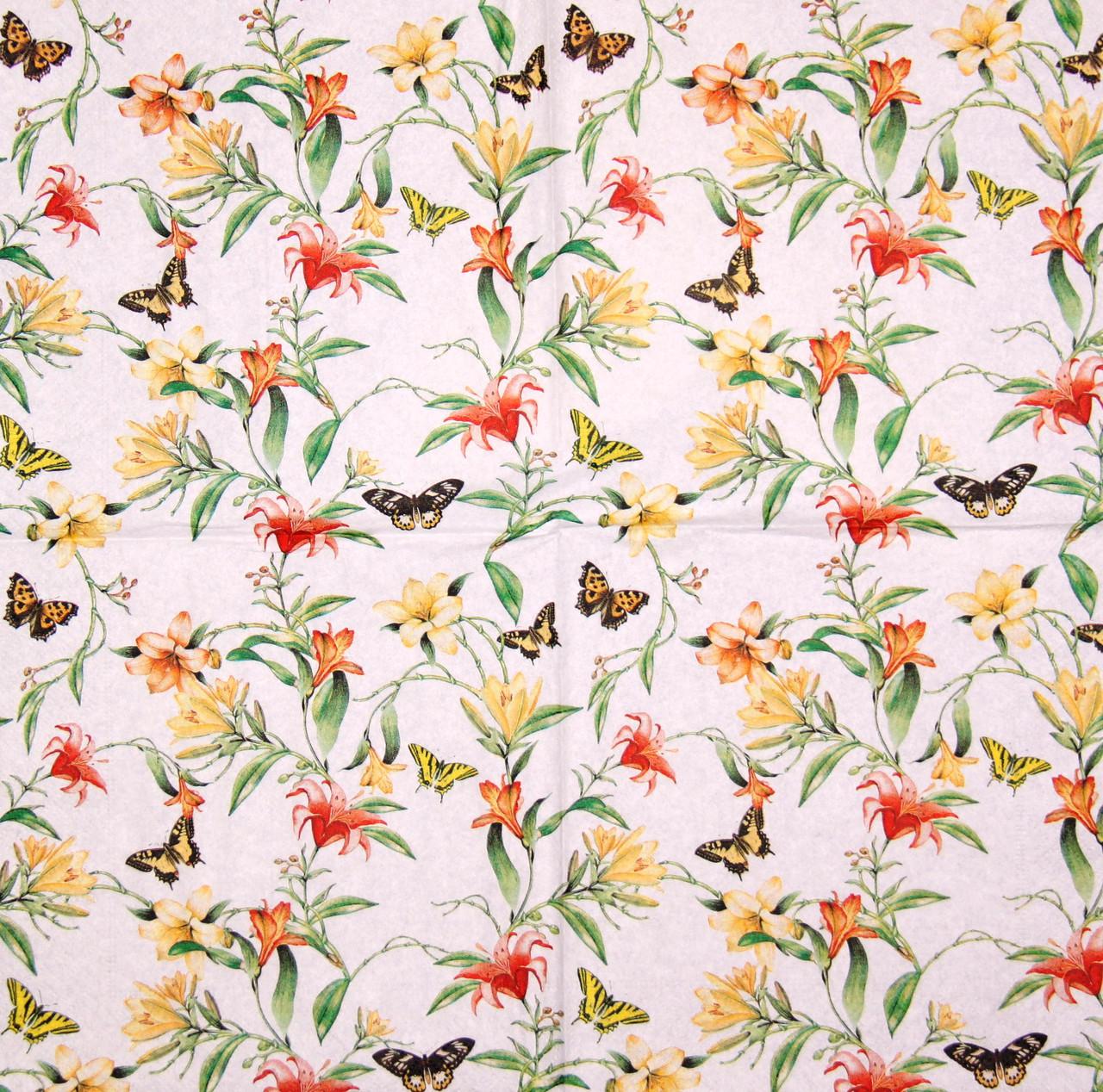 Декупажная салфетка Лилии и бабочки 7245