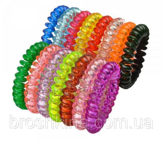 Резинка пружинка силикон большая цветная прозрачная d 5,5 см 100 шт/уп