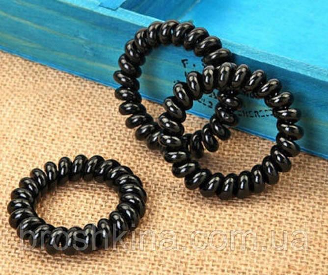 Резинка пружинка силикон  широкая черная d 5,5 см 100 шт/уп