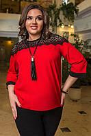 Женская блузка Шифоновая роскошное кружево красная Батал