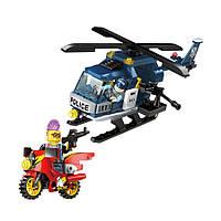 Детский развивающий к (БРИК) BRICK 1905 полиция, вертолет, мотоцикл, фигурки 2шт, 157дет, конструктор лего-тип