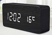Настольные часы из дерева Брусок черный