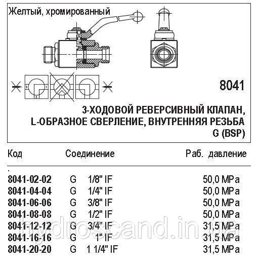 Шаровой кран, 3-ходовой реверсивный клапан, 8041