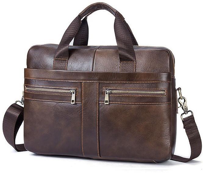 Горизонтальная деловая мужская сумка из натуральной кожи в коричневом цвете Vintage  Bx1120C