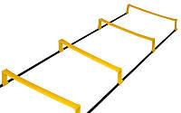 Координационная лестница дорожка с барьерами, 12 перекл.,4,3x0,5мх3,4мм, желтый (C-4892-12)