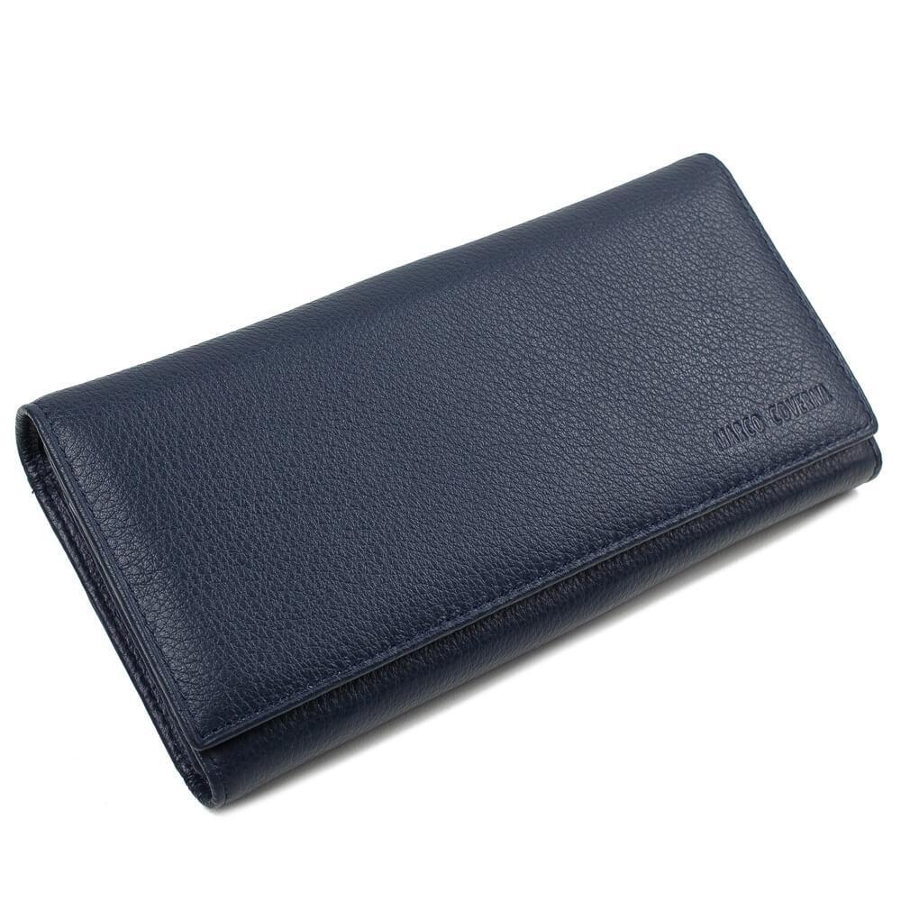 Horton Collection Женский кожаный кошелёк HORTON выполнен в темно синем цвете с отделом для кредиток TRW8584BL