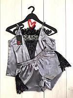 Комплект майка и шорты с нежным черным кружевом ТМ Exclusive
