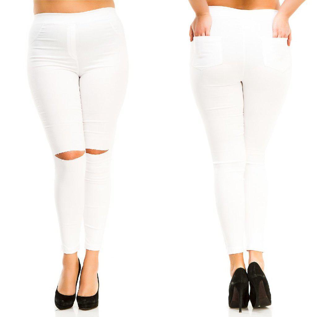 Штаны джинсы стрейч Разрезы на коленях батал Белый