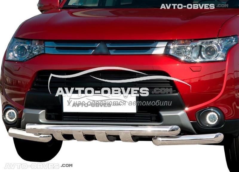 Защита переднего бампера модельная для Митсубиши Аутлендер 2013-2015