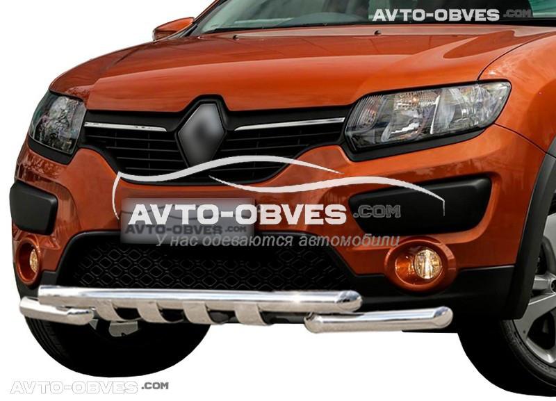 Защита переднего бампера модельная для Дачия Сандеро Степвей 2013-...
