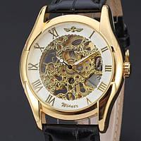 Часы наручные мужские WINNER Gold Skeleton mod063