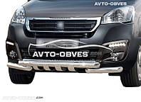 Защита бампера модельная  Peugeot Partner 2015-2018