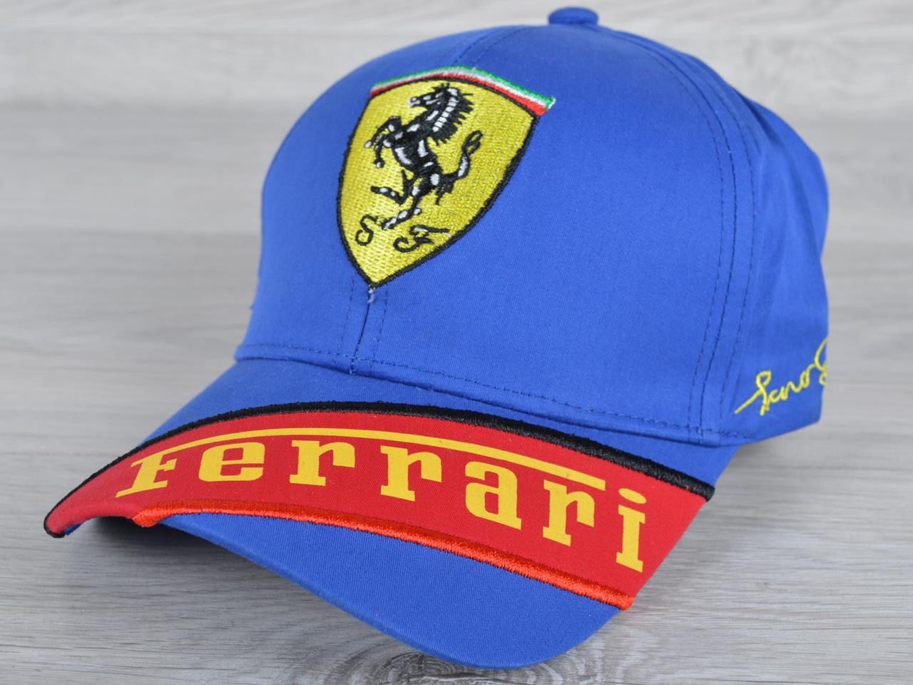 """Кепка мужская """"Ferrari реплика"""". Размер 57-59 см. Электрик. Оптом и в розницу."""
