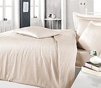 Комплект постельного белья  Clasy сатин Strip размер евро CAPPUCCINO