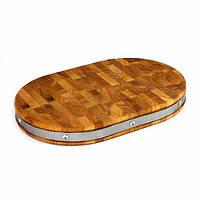 Доска деревянная с металлическим ободом 45х30х4 см.