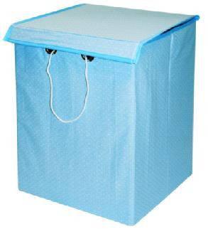 Ящик для іграшок бавовна блакитний горошок 30*30*45 з кришкою