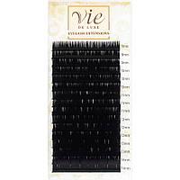 Черные ресницы для наращивания Vie MIX. Изгиб: В; Толщина: 0,1
