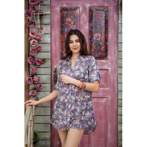 eaaf52502b5 Модная женская блуза-туника на пуговицах