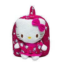 Рюкзак с игрушкой Hello Kitty 4808 Малиновый (28*22*7) купить оптом со склада