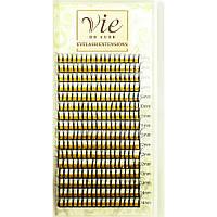 Черные ресницы для наращивания Vie de Luxe W-тройной объем MIX. Изгиб: В; Толщина: 0,1