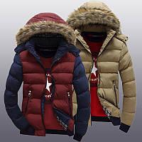 Молодёжная стильная куртка с капюшоном и мехом