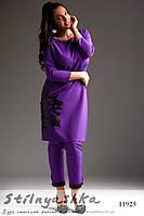 Брючный костюм двойка для полных фиолет с черным, фото 1