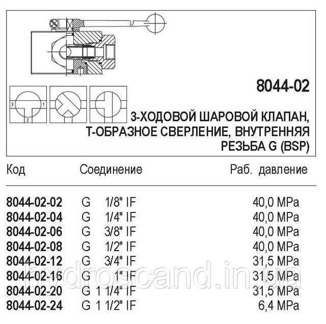 Кульовий кран, 3-ходовий, внутрішня різьба G (BSP), 8044-02