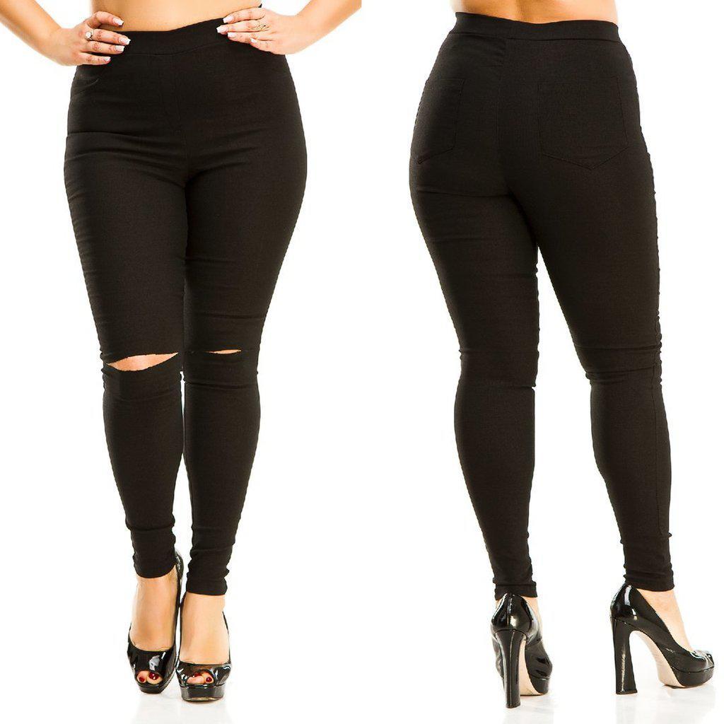 2f0f459e061 Штаны джинсы стрейч Разрезы на коленях батал Черные