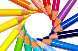 Карандаши цветные, мелки восковые