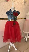 Модное джинсовое платье для девочек 5-6-7-8 лет Flaviano