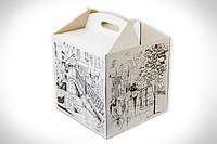 """Картонная коробка для торта 30*30*30 см """"Белая с городскими пейзажами"""""""