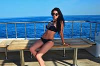 Спортивный, пляжный женский купальник, черный, раздельный, размер М