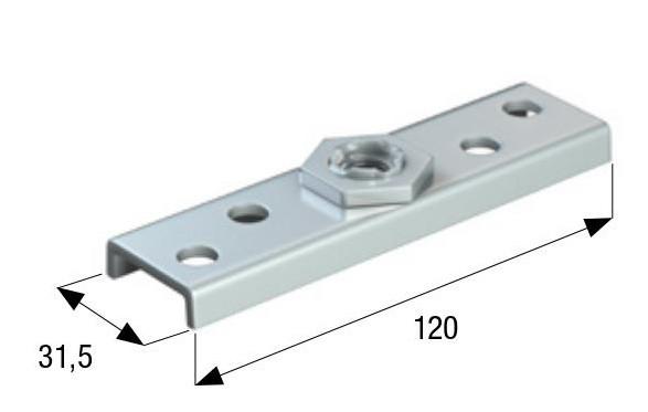 Пластина с поворотной резьбой для кареток (44 мм.) резьба 12мм.