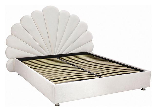 Кровать подиум двухспальная Жемчуг (Высокое изголовье). По умолчанию задняя часть изголовья в данных моделях обита нетканным полотном.