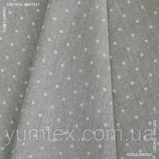 Декор панама принт лен горох беж-белый 108024