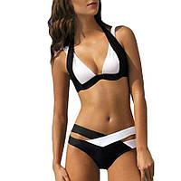 77ad9772f4668 Симпатичный молодежный раздельный купальник с переплетами черно-белого  цвета размером L