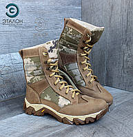 Берцы женские армейские ARS-3 пиксель ВСУ кожа крейзи демисезонная обувь для армии