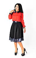 Стильная юбка-миди с кожанными вставками