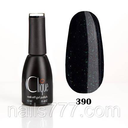 Гель-лак Clique 12 мл №390 (черно-синий с блёстками), фото 2