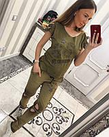 """Женский костюм """"BROOKLIN"""" с джинсами со стильными вырезами и декором, в расцветках"""