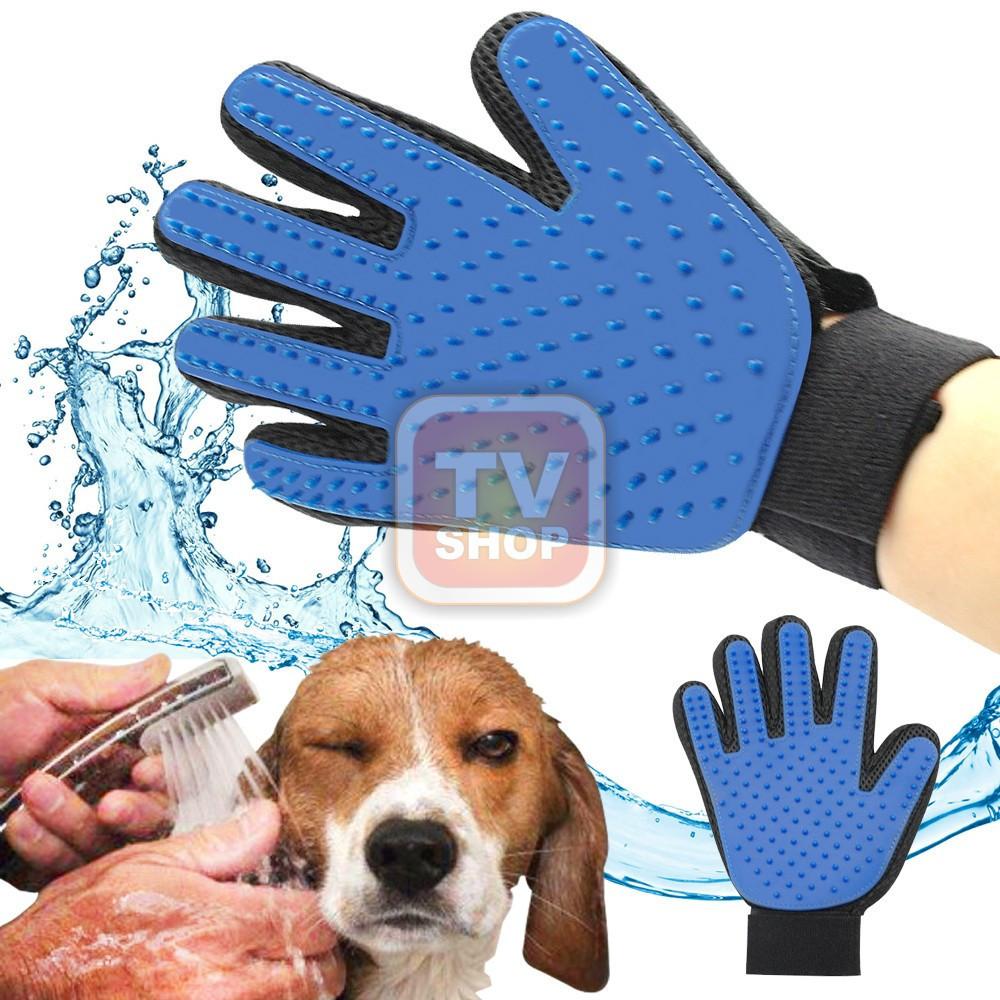 Перчатка  для вычёсывания  животных шерсти и массажа! Побалуй питомца!True Touch pet grooming glove Груминг 5