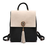 Рюкзак сумка (трансформер) городской женский с брошью и кисточками (черный с бежевым), фото 1