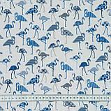 Декоративная ткань фламинго мелкий синий 145532, фото 3