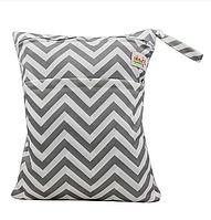 Удобные сумочки для сухих и мокрых вещей c двумя отделениями зигзаг серый