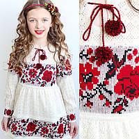 В'язане плаття з льону для дівчаток від 98см - до 158 см, фото 1