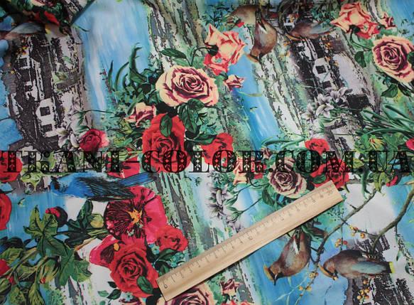 Трикотаж креп-дайвинг принт цветы с птицами, фото 2