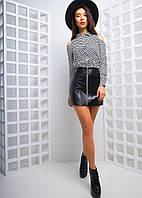Женский шикарный костюм с кожаной юбкой мини, фото 1